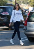 Alessandra Ambrosio wears a Jordache sweatshirt and skinny jeans while out shopping in Brentwood, Los Angeles