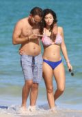Alexandra Rodriguez in a bikini enjoys a day at the beach with fiance Simone Sestito in Miami, Florida