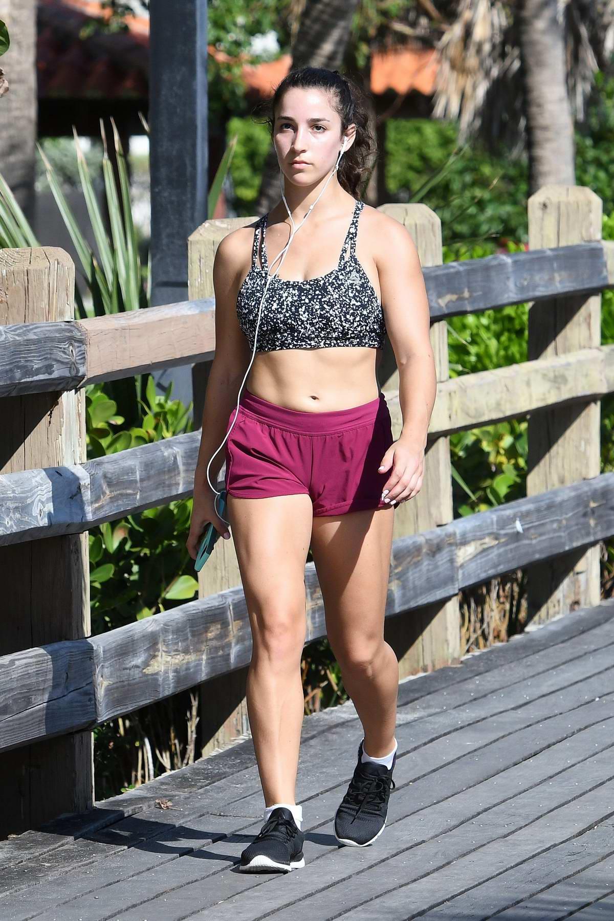 Aly Raisman out for walk in Miami beach, Florida