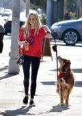 Amanda Seyfried dressed in casuals as she walks her dog and picks up coffee in West Hollywood, Los Angeles