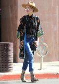 Amber Heard is spotted out running errands in snake skin boots in Beverly Hills, Los Angeles