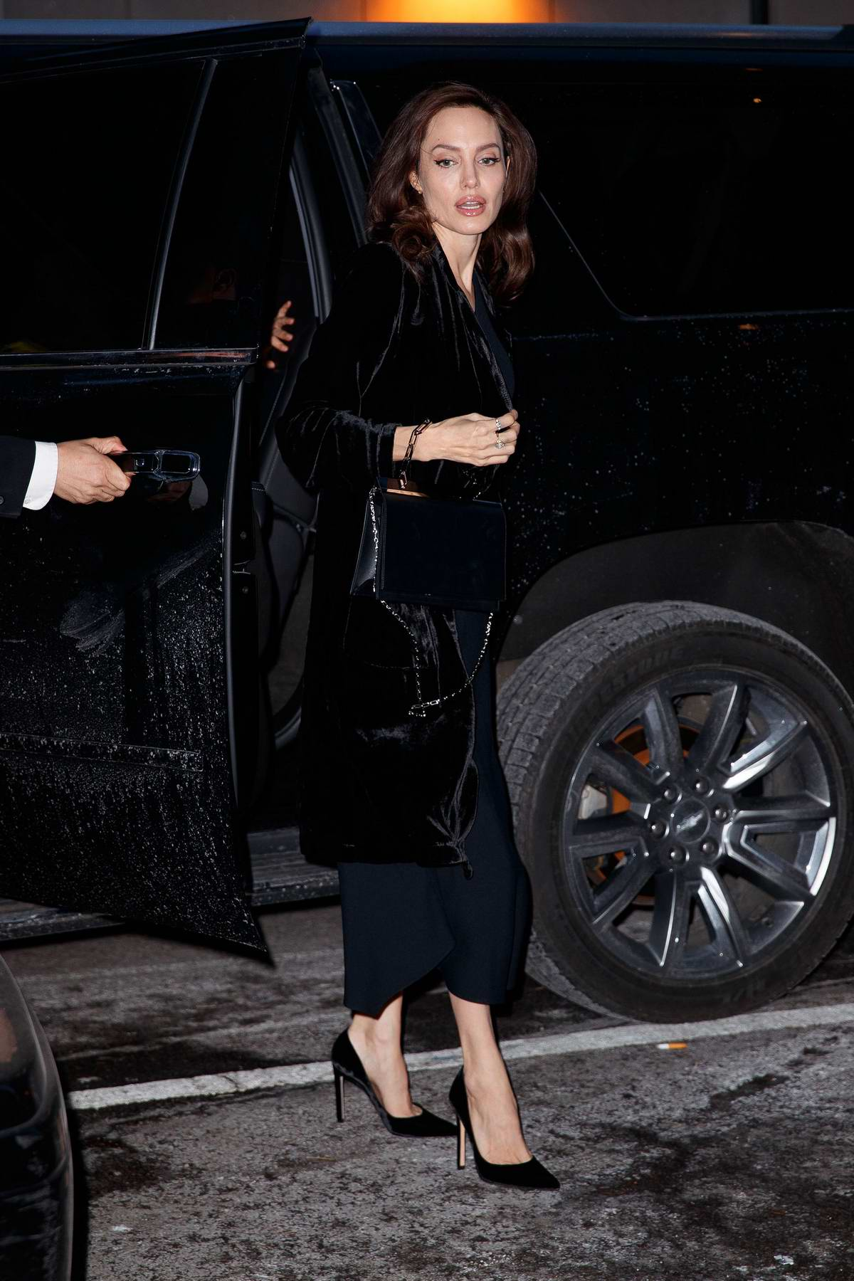 Angelina Jolie arrives at an office building in New York City