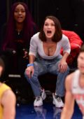 Bella Hadid enjoys the New York Knicks vs Los Angeles Lakers game in New York City