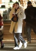 Bella Hadid heads for a night out with a group of friends in Aspen, Colorado