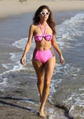 Blanca Blanco in a pink bikini arriving at the beach for a photoshoot in Malibu, California
