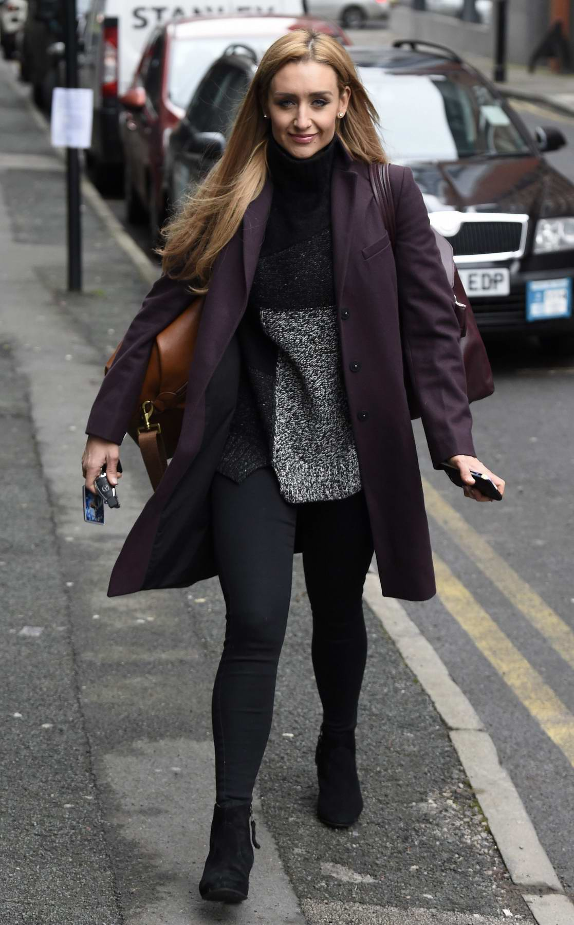 Catherine Tyldesley spotted out running errands in Manchester City Centre, Manchester, UK