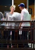 Charlize Theron leaves a sushi place after enjoying a girls night out in Los Angeles