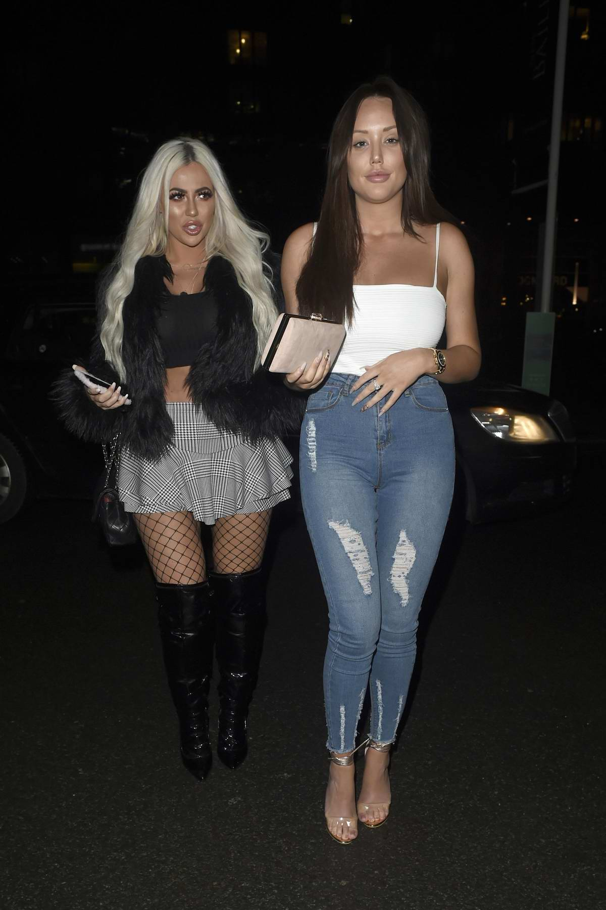 Charlotte Crosby and Holly Hagan enjoying a night out at Menagerie in Manchester, UK