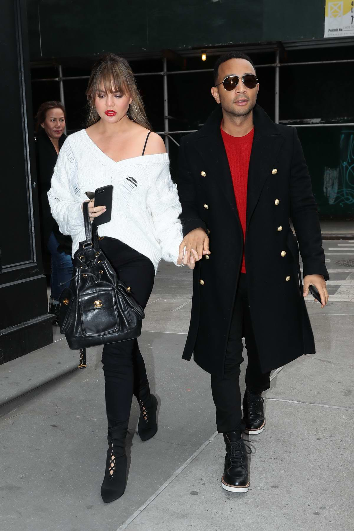 Chrissy Teigen sporting bangs while out with husband John Legend in New York City