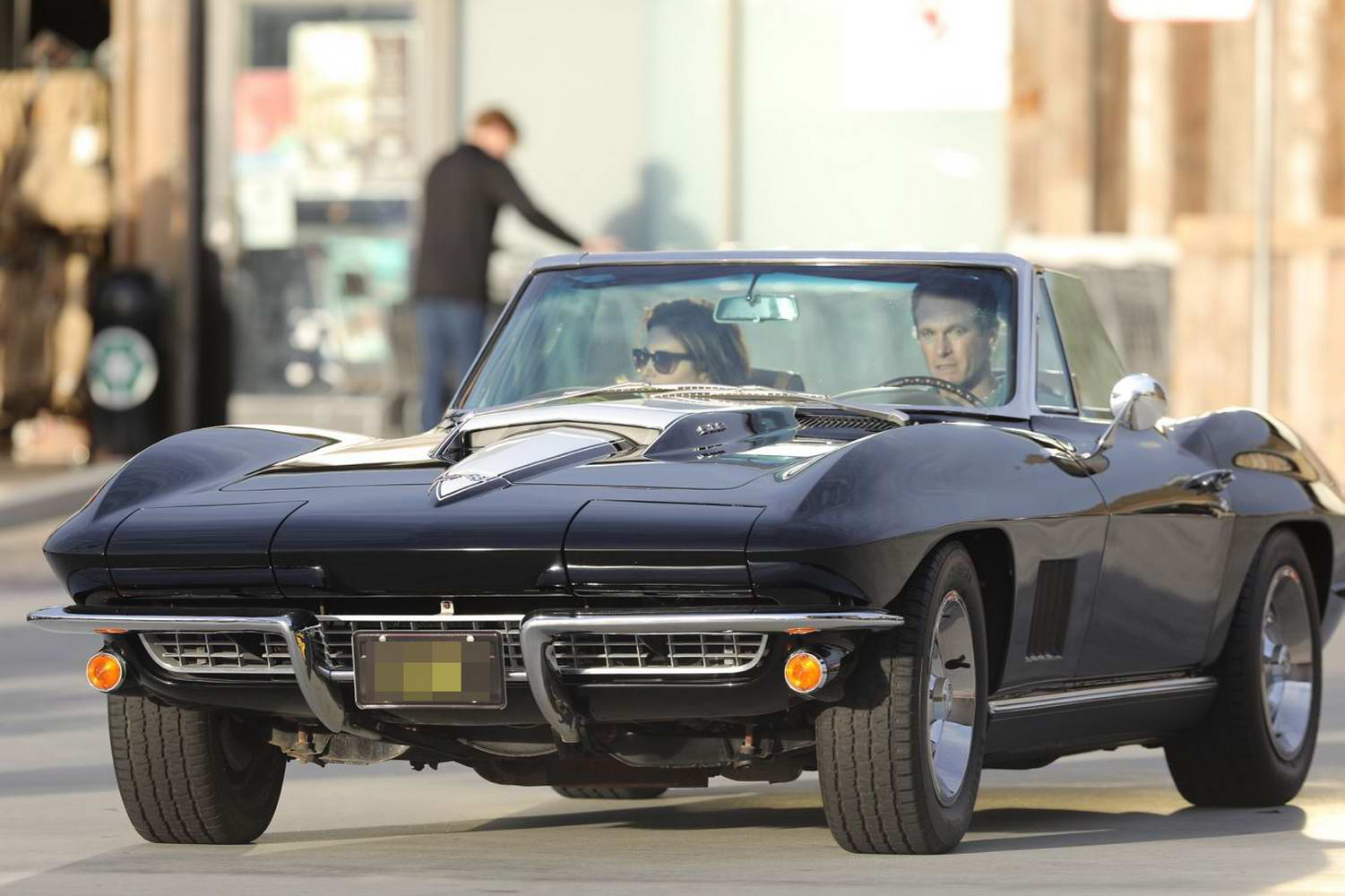 Cindy Crawford and Rande Gerber take their Corvette out for a spin in Los Angeles