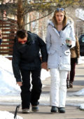 Elle Evans and Matthew Bellamy grab a morning coffee in Aspen, Colorado