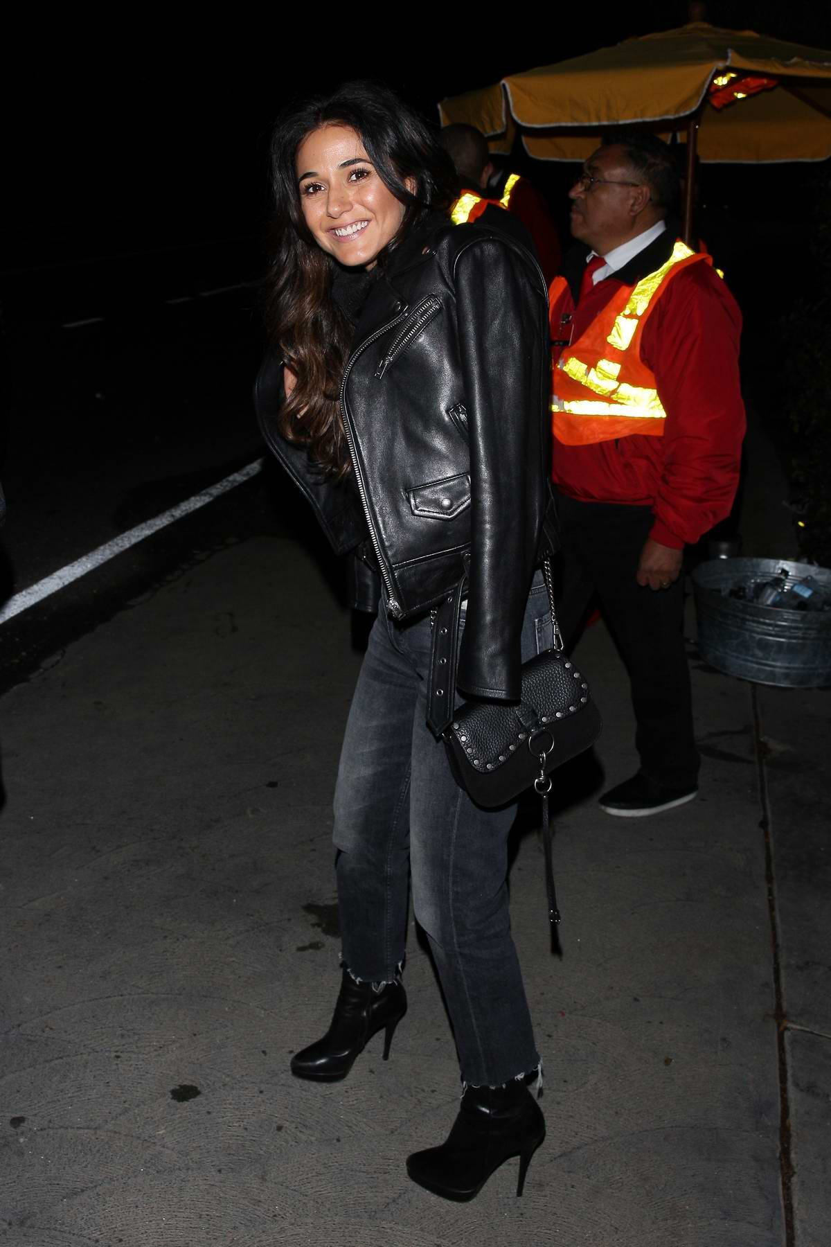 Emmanuelle Chriqui rocks a black leather jacket as she leaves a house party in Los Angeles