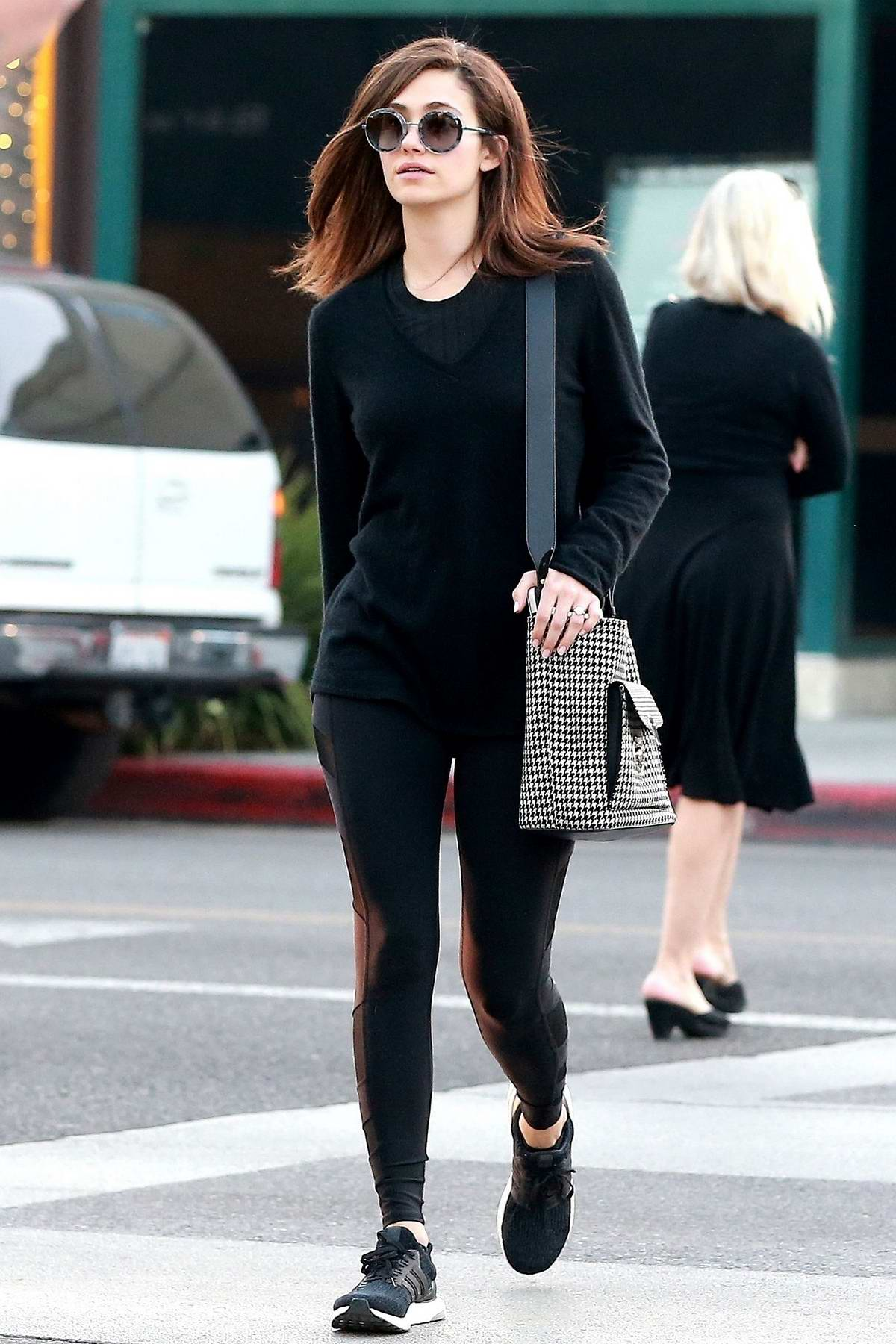 Emmy Rossum rocks all black while shopping in Beverly Hills, Los Angeles