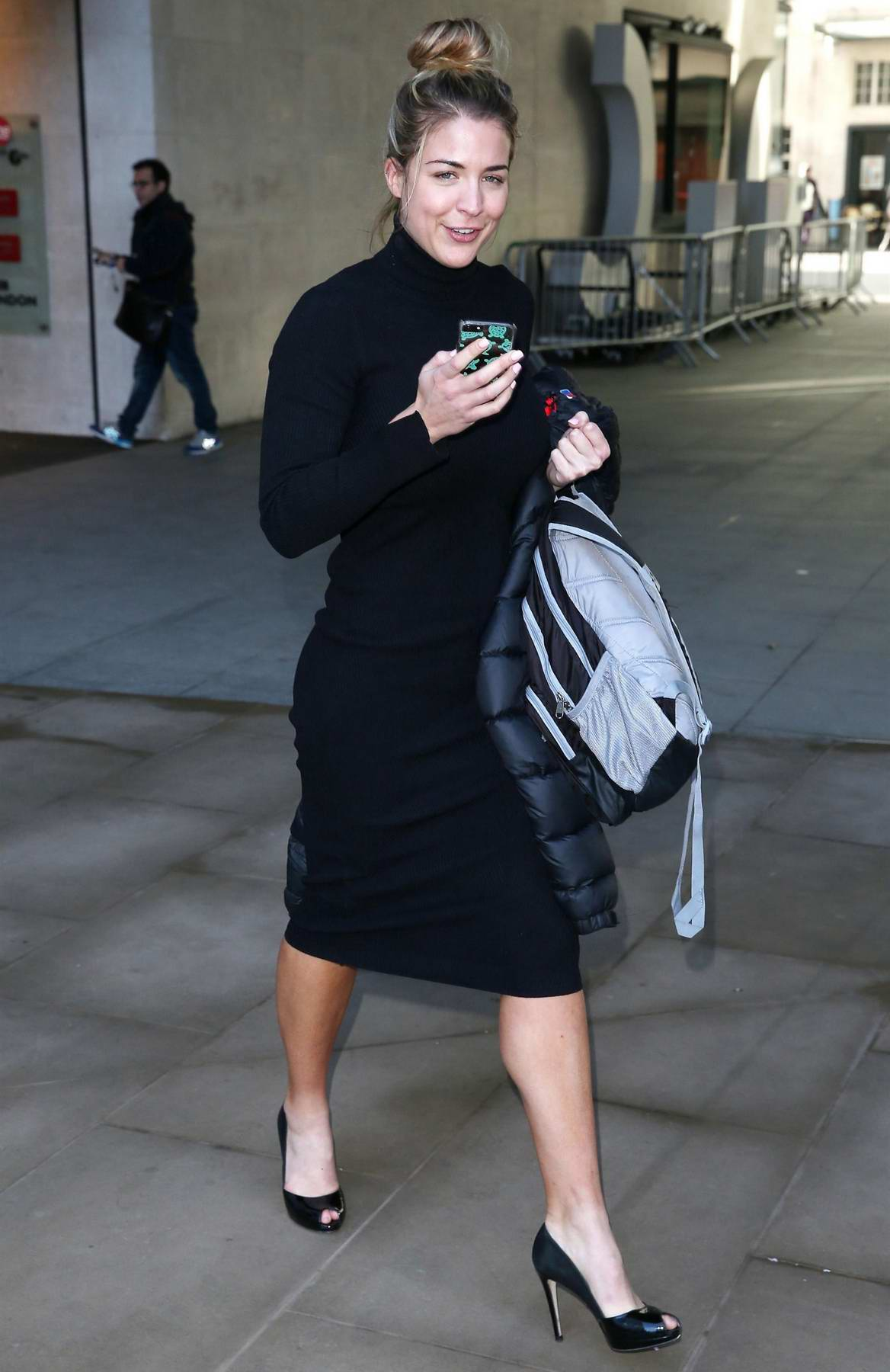 Gemma Atkinson leaving after attending a press conference the BBC studios in London