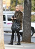 Gwen Stefani wears a leopard coat out running errands in Los Angeles