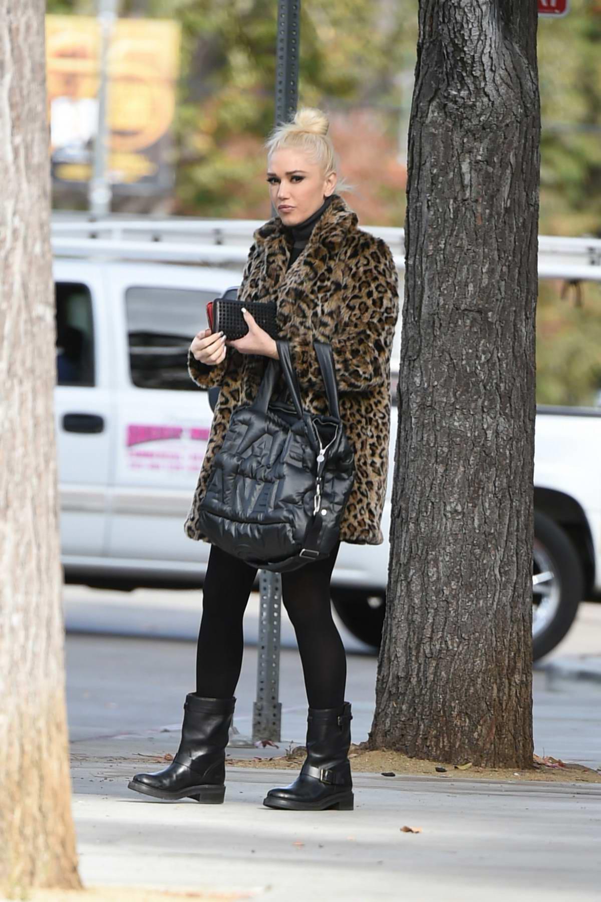 Gwen Stefani wears a leopard coat out running errands in Los Angeles