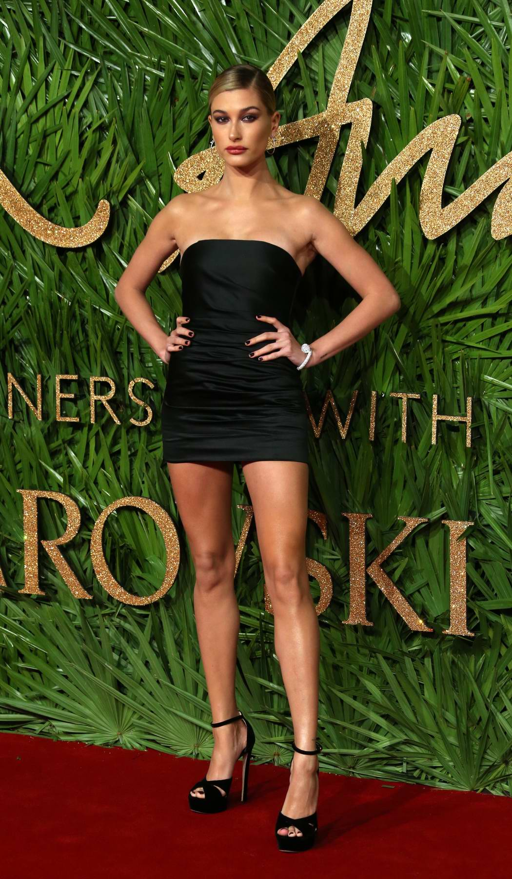 Hailey Baldwin attends The British Fashion Awards 2017 in partnership with Swarovski held at the Royal Albert Hall in London
