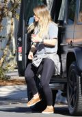 Hilary Duff stops by a friend's place in Los Angeles