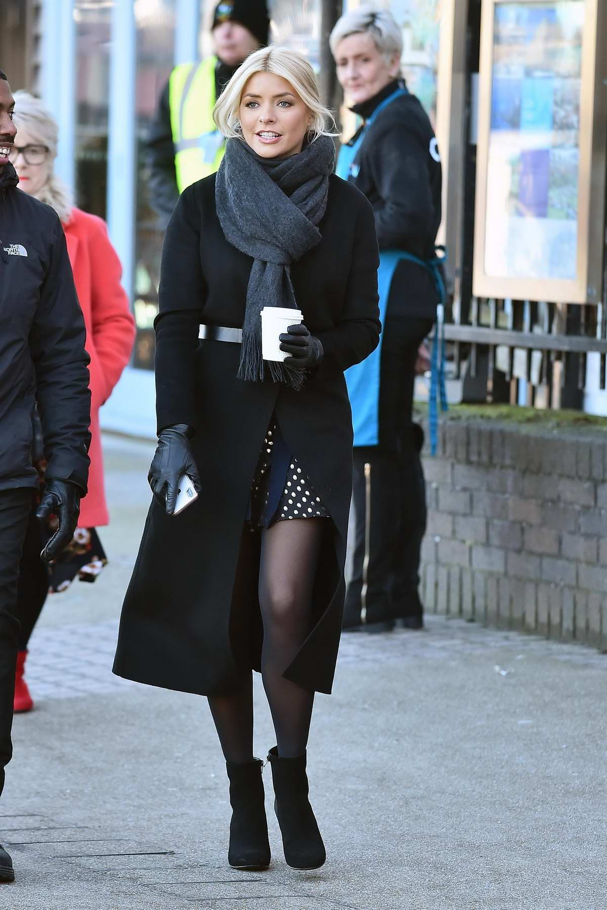Holly Willoughby switching the 'This Morning' show Christmas tree lights in London