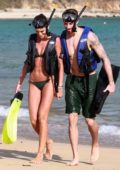 Izabel Goulart wears a green bikini as she goes diving with beau Kevin Trapp in Fernando de Noronha, Brazil