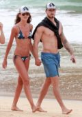 Izabel Goulart wears a string bikini while she enjoys the ocean with beau Kevin Trapp after celebrating christmas in Fernando de Noronha, Brazil