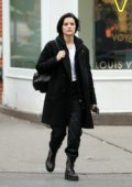 Jaimie Alexander walks to lunch at Shuka restaurant in Soho, New York City