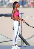 Jasmine Tookes spotted during Victoria's Secret shoot in Venice, Los Angeles