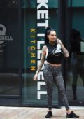 Jemma Lucy spotted outside Kettlebell Kitchen only to find it closed after a workout in Manchester, UK