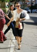 Jennifer Garner leaves church wearing a white blouse and black pencil skirt in Los Angeles