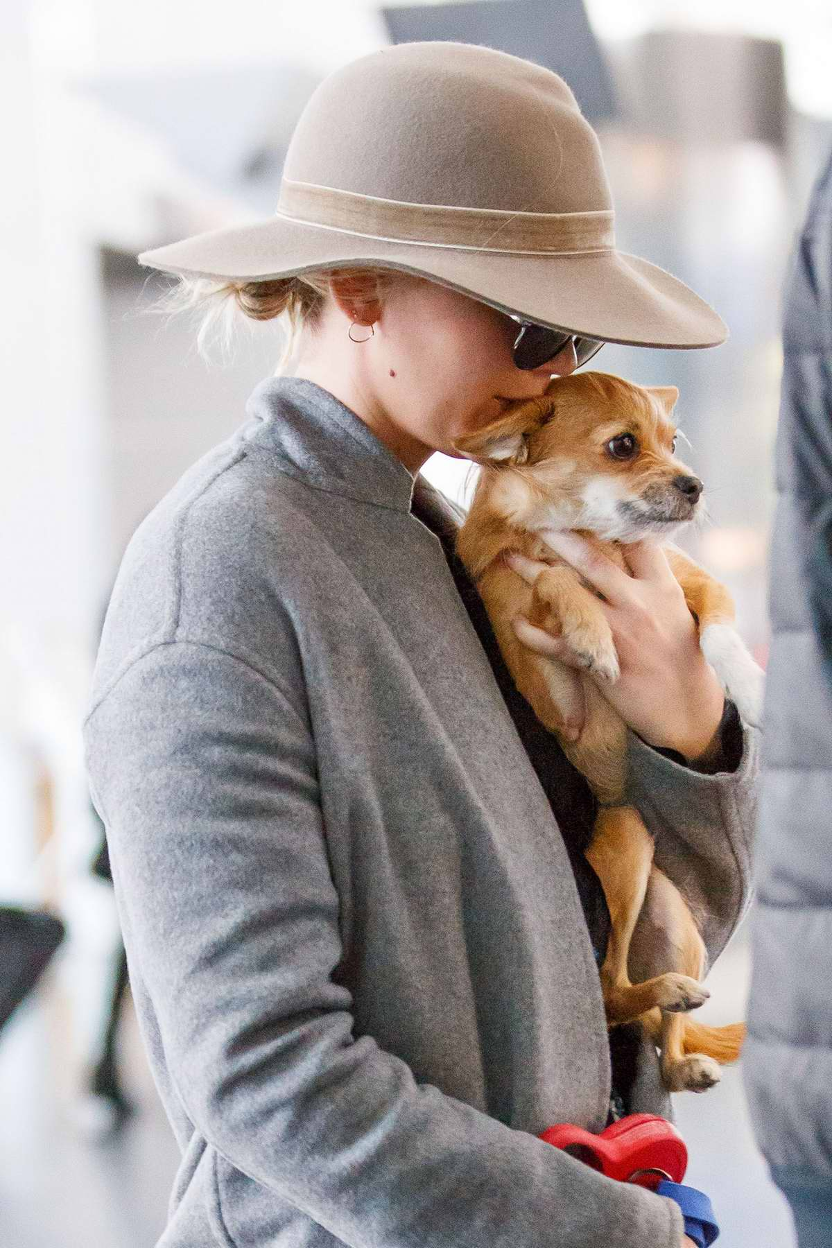 Jennifer Lawrence arrives at the JFK airport with her dog in New York