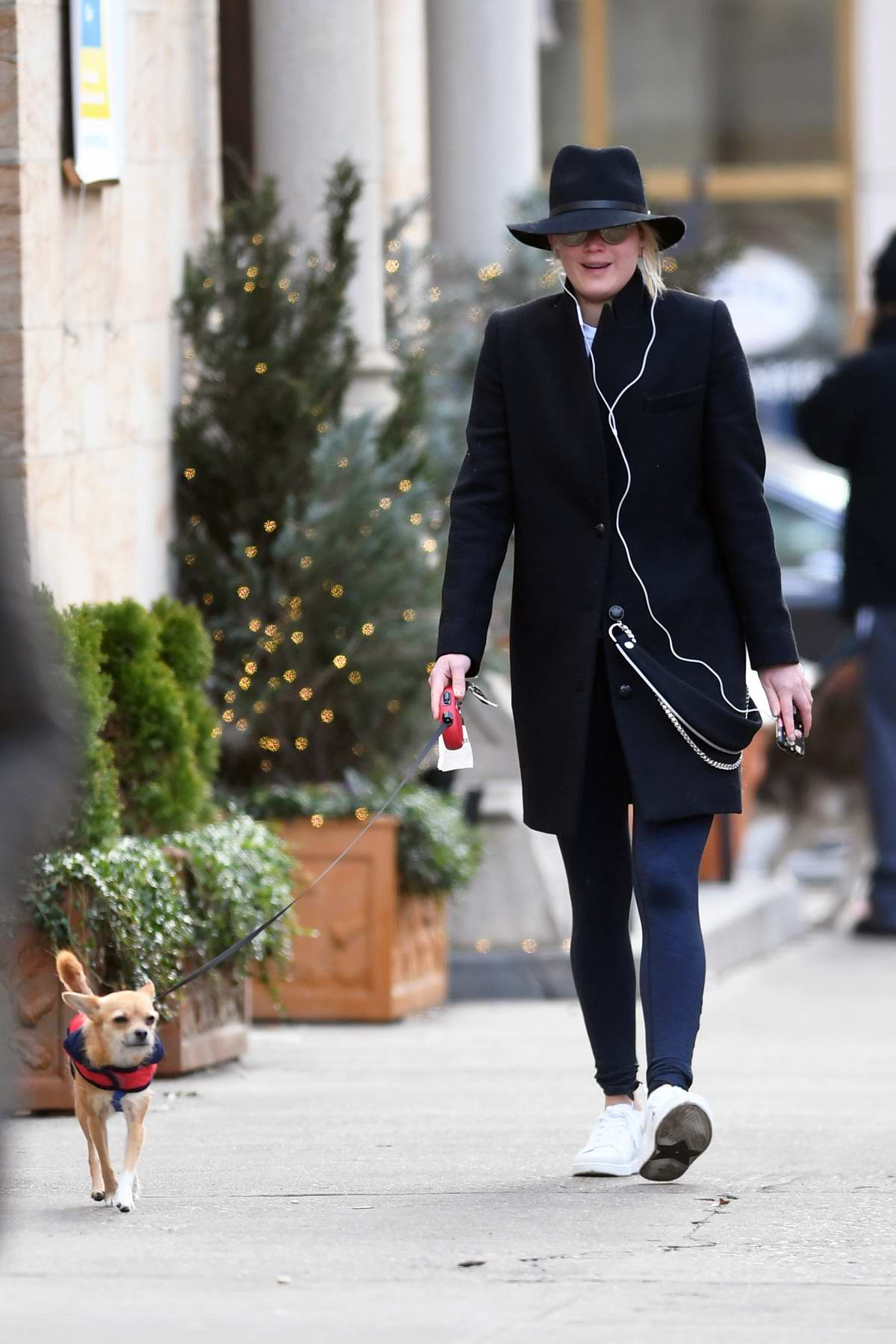 Jennifer Lawrence steps out walking her dog in New York City