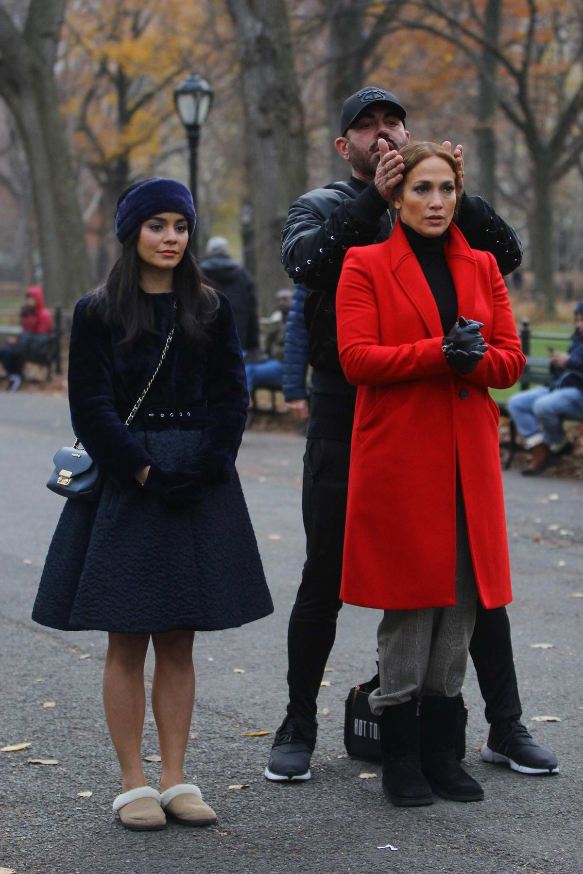 Jennifer Lopez and Vanessa Hudgens filming scenes for their upcoming movie 'Second Act' in New York
