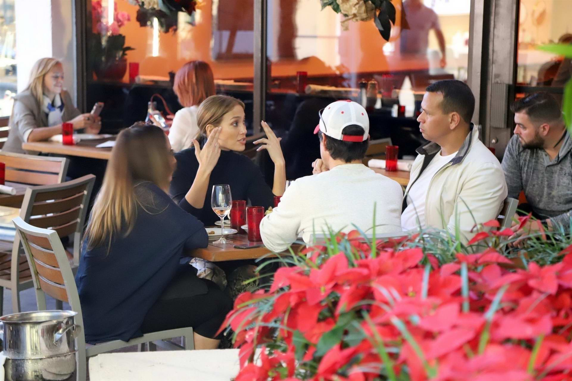 Jennifer Lopez dines with Alex Rodriguez and friends at a restaurant in Miami, Florida