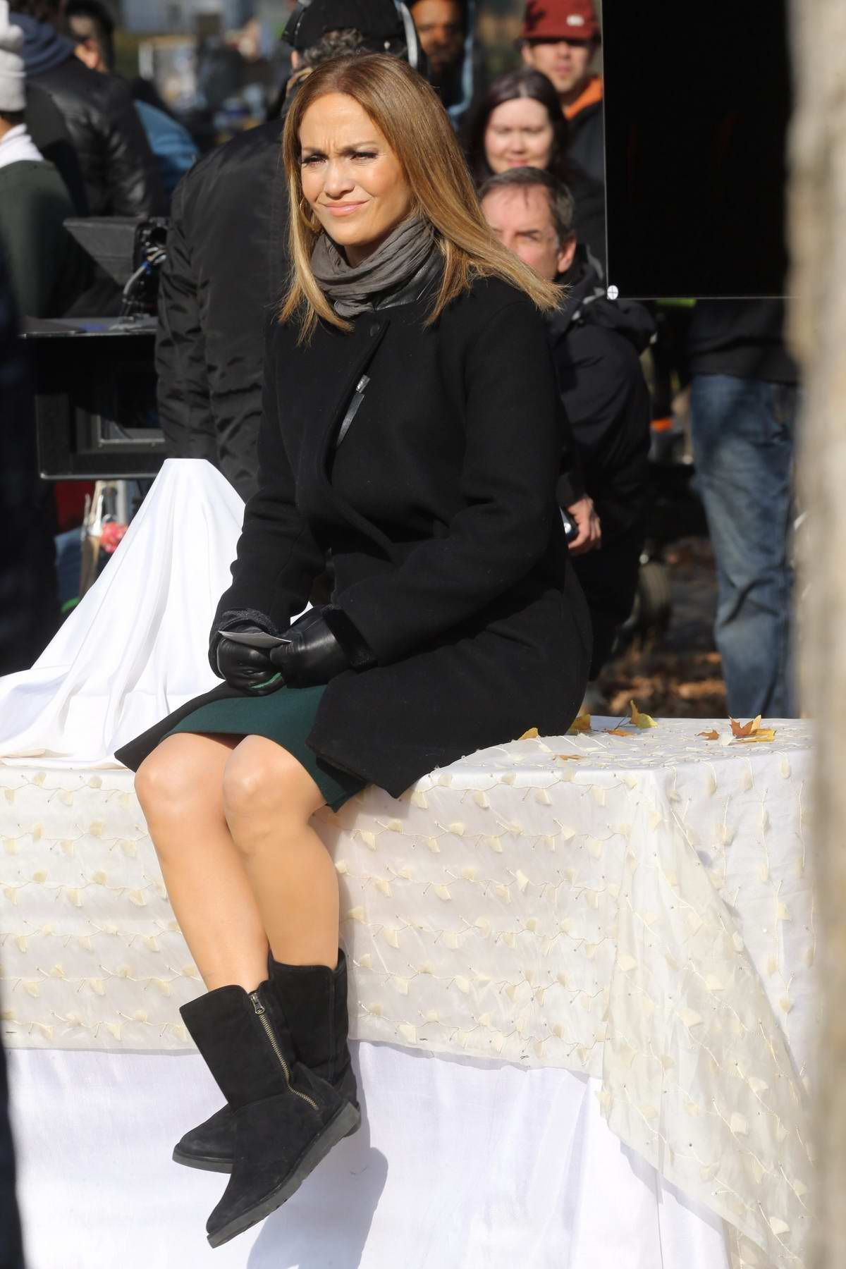 jennifer lopez relaxing in between takes while filming ...