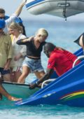 Jessica Woodley hopping on a boat for a boat party in Barbados