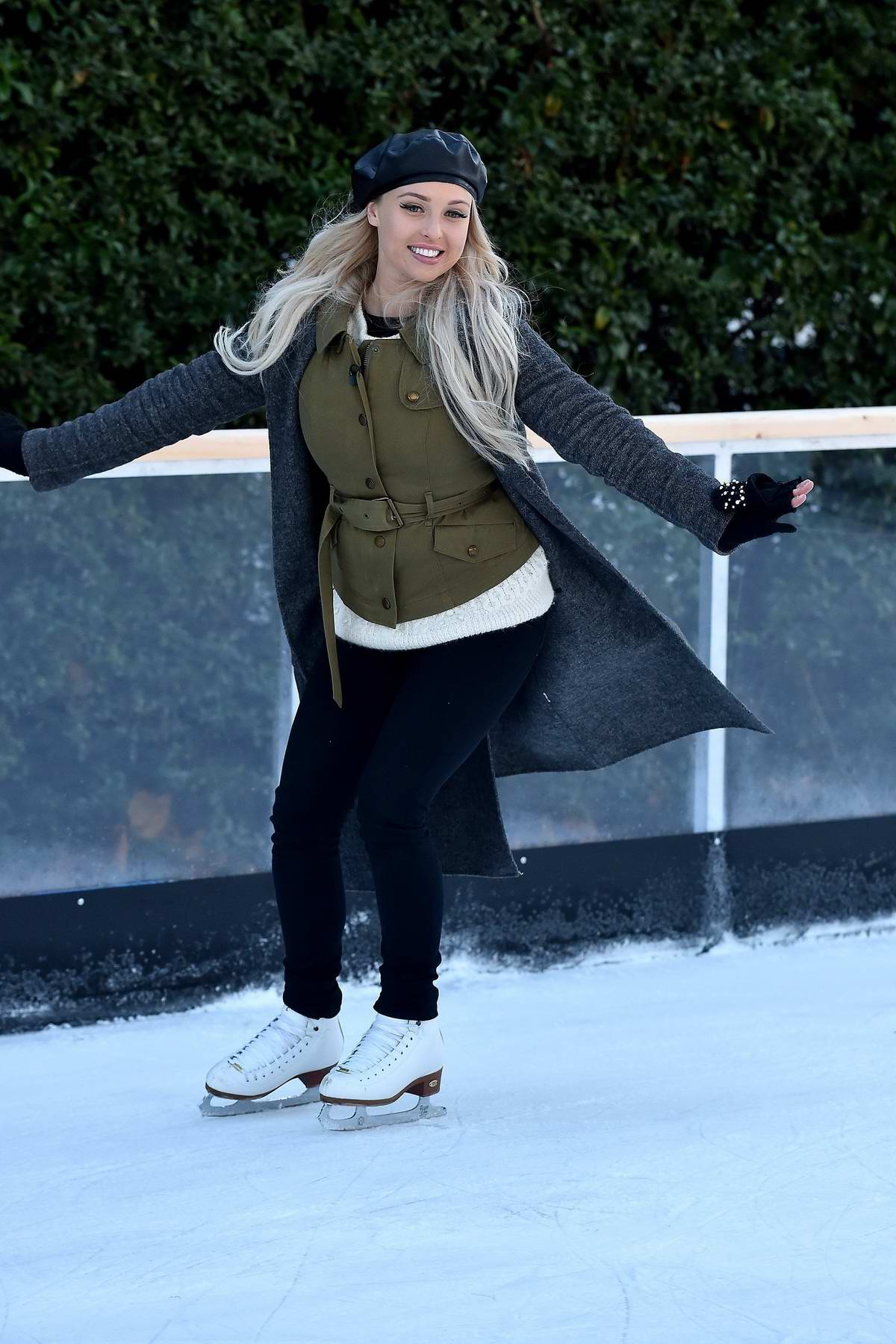 Jorgie Porter ice skating on the 'This Morning' show at an open air rink in London