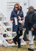 Julia Roberts shows off her newly-dyed red hair while on the set of 'Ben is Back' in Westchester, New York
