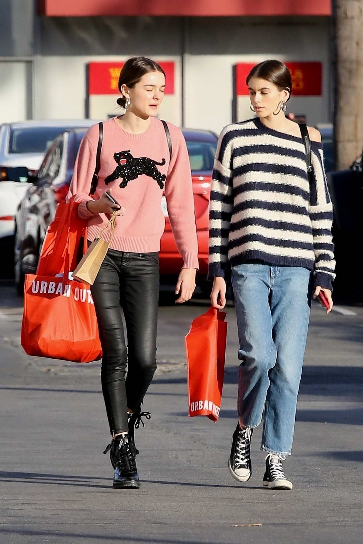 Kaia Gerber shops at Urban Outfitters with a friend in Malibu, California