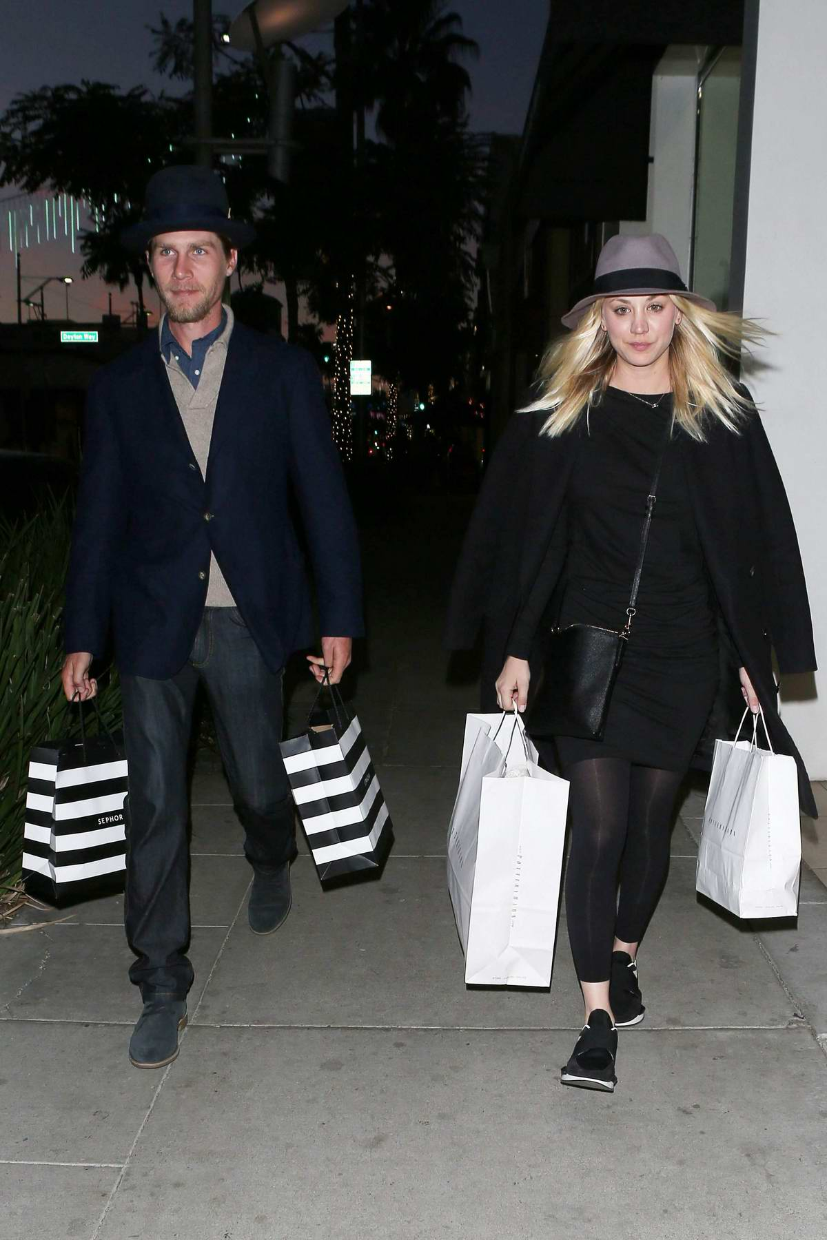 Kaley Cuoco and fiance Karl Cook out on holiday shopping in Beverly Hills, Los Angeles
