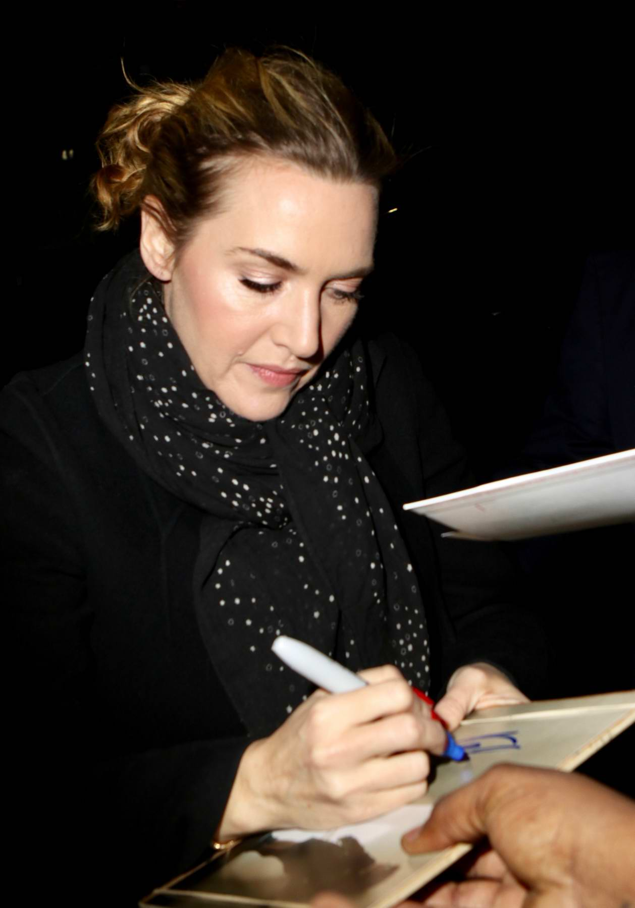 Kate Winslet greet her fans as she leaves The Late Show With Stephen Colbert in New York