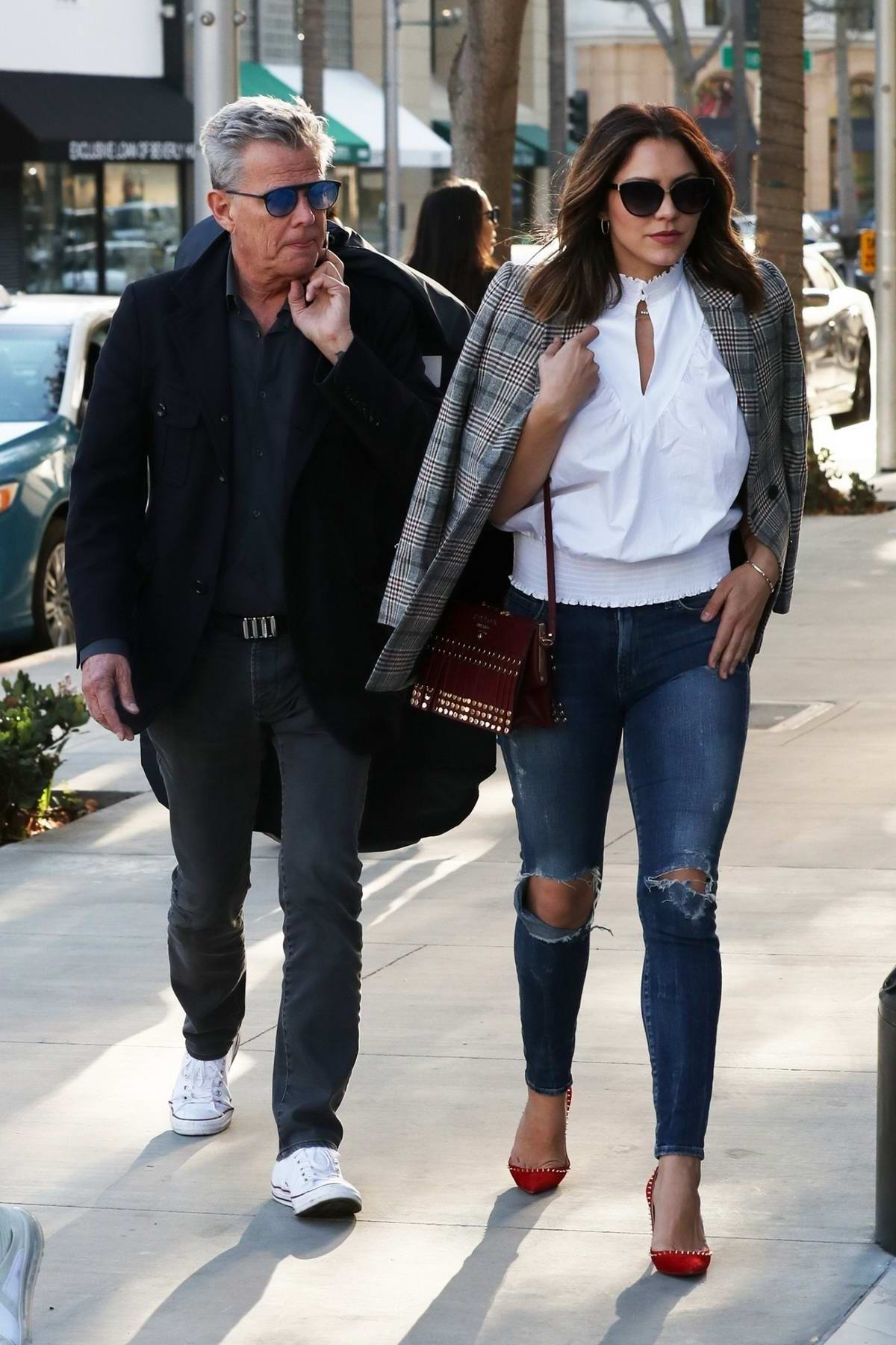 Katharine McPhee and David Foster out for shopping in Beverly Hills, Los Angeles