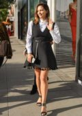 Katharine McPhee dressed formally in a black and white dress while out in Los Angeles
