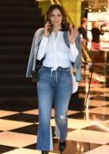 Katharine McPhee takes a phone call while shopping at Prada on Rodeo Drive in Beverly Hills, Los Angeles