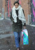 Katie Holmes holiday shopping in the snow in New York City