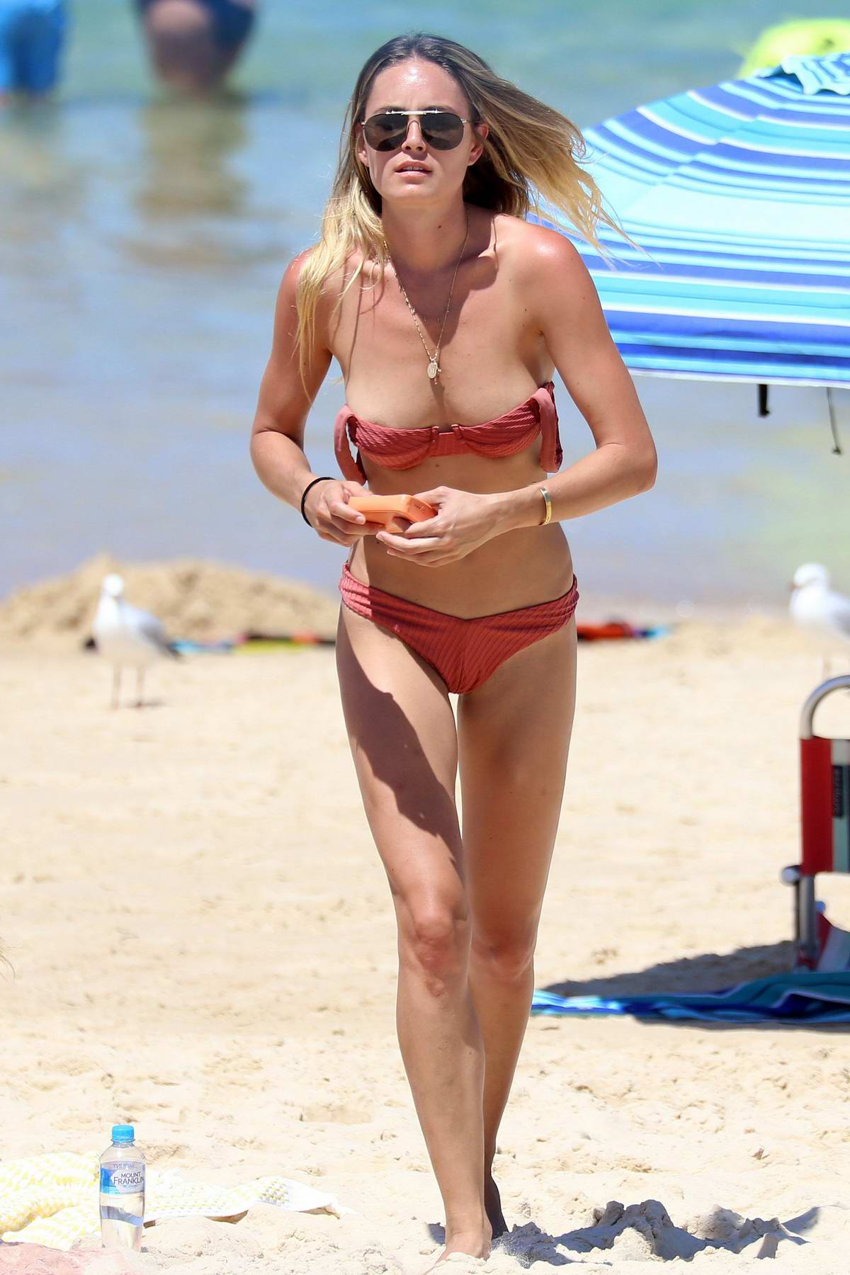 Kendal Lee Schuler spends a hot summers day in a bikini at Bondi beach, Sydney, Australia