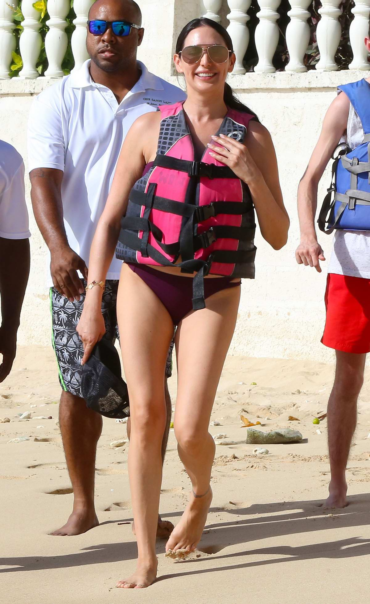 Lauren Silverman hits the beach in a bikini and enjoys another jet ski ride while on holiday in Barbados