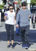 Lea Michele and boyfriend Zandy Reich holding hands while strolling in Los Angeles