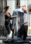 Mandy Moore picks up her dry cleaning in Los Angeles