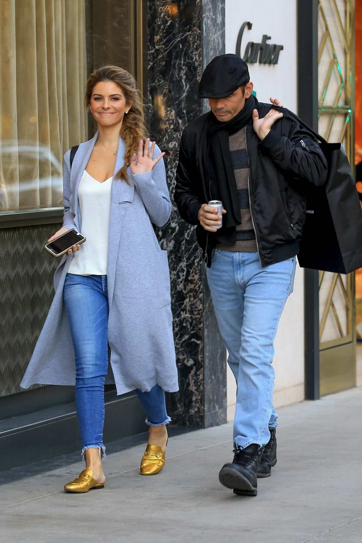 Maria Menounos and Keven Undergaro make a trip to Saint Laurent for Christmas gifts, Beverly Hills, Los Angeles
