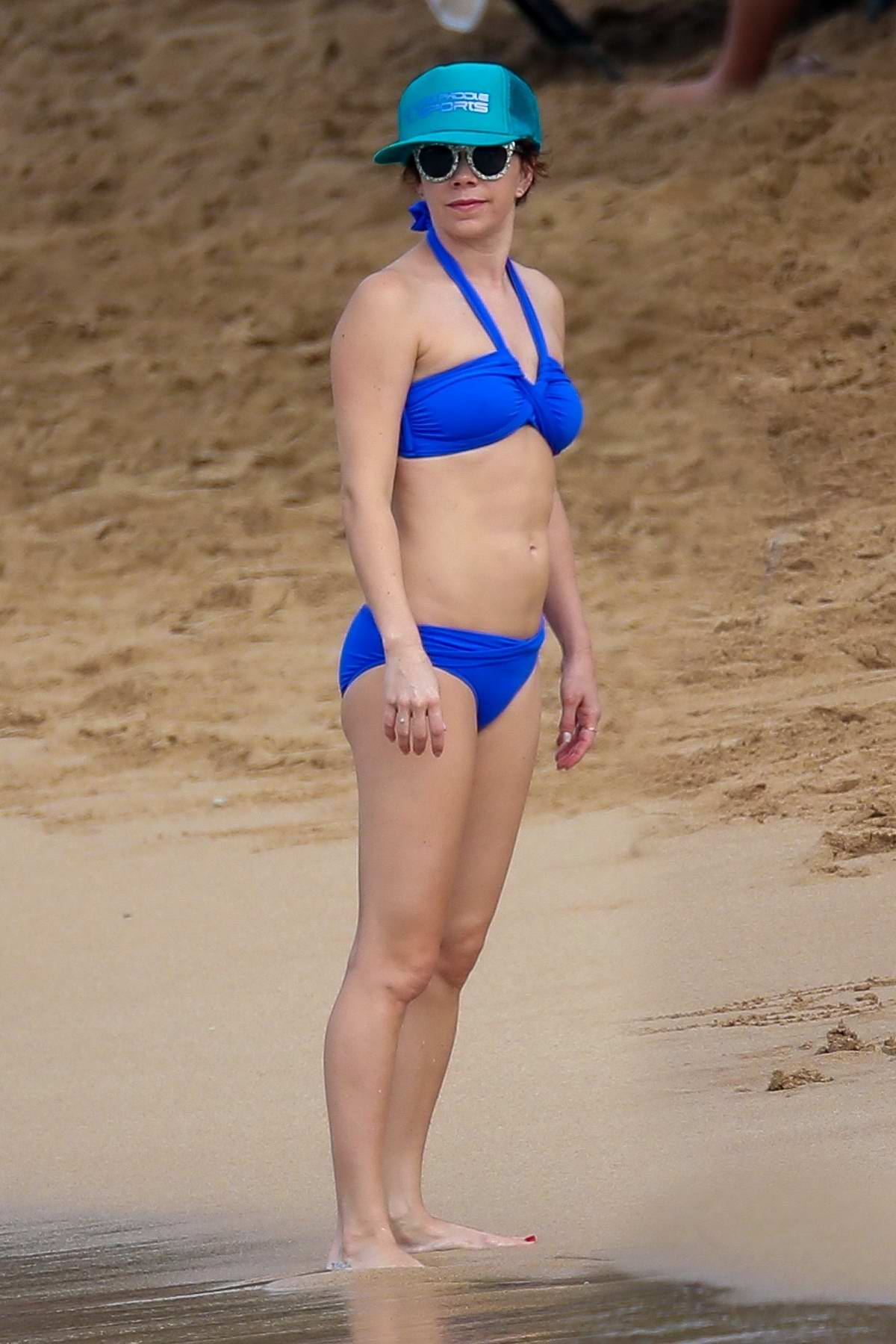 Mary Elizabeth Ellis in a blue bikini enjoying the beach while on a family vacation in Maui, Hawaii